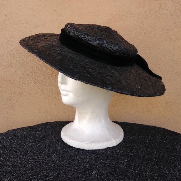 1950s Black Straw Saucer Cartwheel Hat OS. Vintage.  M 5c168b6334a4ef62ef466c44. M 5c168b67aa57198e840f229f.  M 5c168b611b32946bbe48271d 8ce4038754bc